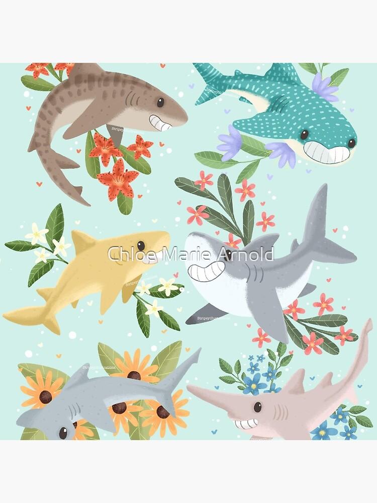 Floral Sharks by StripeysArt