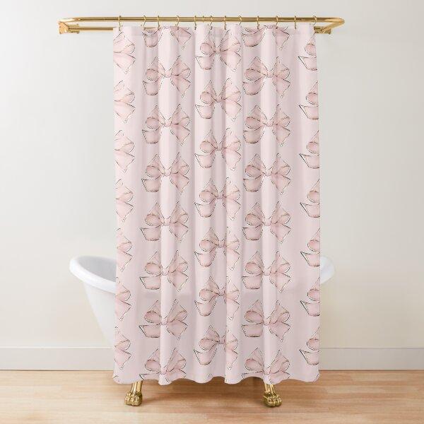 Preppy Bow Sticker Pink Shower Curtain