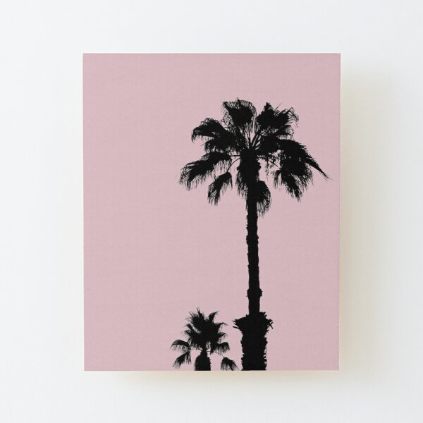 Palm Tree Silhouettes On Pink Wood Mounted Print