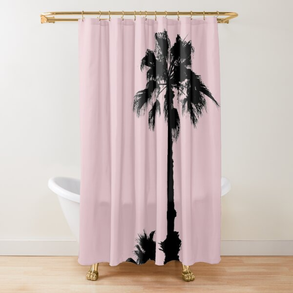 Palm Tree Silhouettes On Pink Shower Curtain