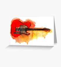 Watercolor guitar Greeting Card