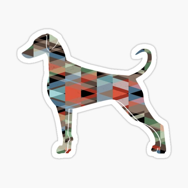 Doberman Pinscher Dog Breed Silhouette Geometric Pattern in Plaid Sticker