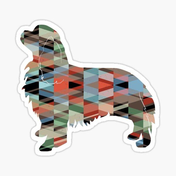 Cavalier King Charles Spaniel Dog Breed Silhouette Geometric Pattern in Plaid Sticker