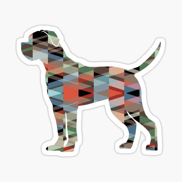 Cane Corso Dog Breed Silhouette Geometric Pattern in Plaid Sticker