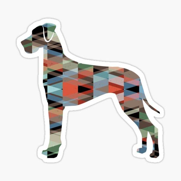 Great Dane Dog Breed Silhouette Geometric Pattern in Plaid Sticker