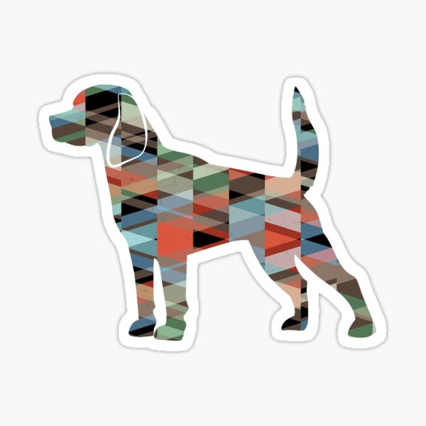 Beagle Dog Breed Silhouette Filled with Geometric Pattern in Plaid Sticker