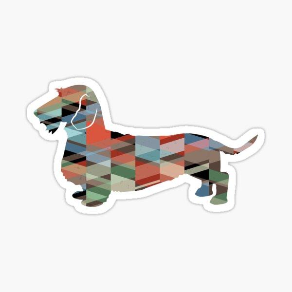 Rough Dachshund Dog Breed Silhouette Geometric Pattern in Plaid Sticker