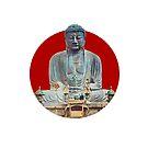 Japanese Flag - Bronze Buddha at Kamakura by weavernap