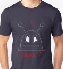 Robot (Watt? Angry eyes) White, Non-Filled face for darker backgrounds Unisex T-Shirt