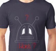 Robot (Watt? Dismayed eyes) White, Non-Filled face for darker backgrounds Unisex T-Shirt