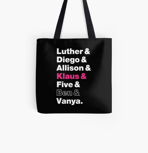 Umbrella Academy Character Names - Pink Klaus Hargreeves, Ben Hargreeves Outline All Over Print Tote Bag