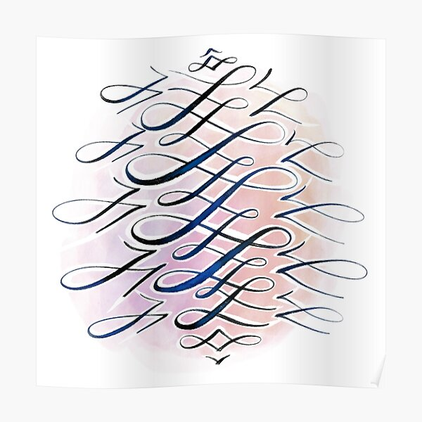 Watercolour Flourish in Pink, Orange, Blue Poster