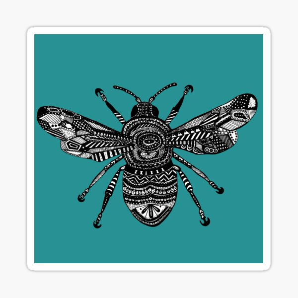 Teal Bee Sticker