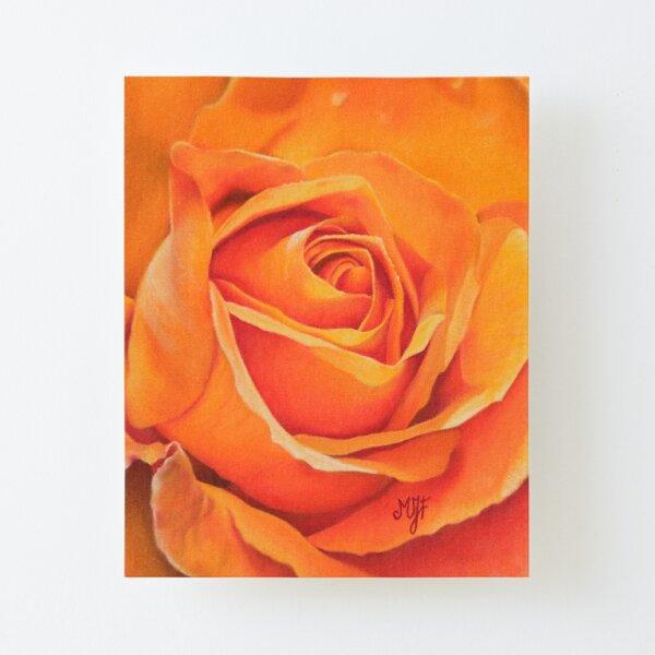 Rose orange Impression montée sur toile