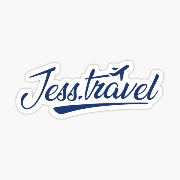Jess.Travel Logo White Transparent Sticker