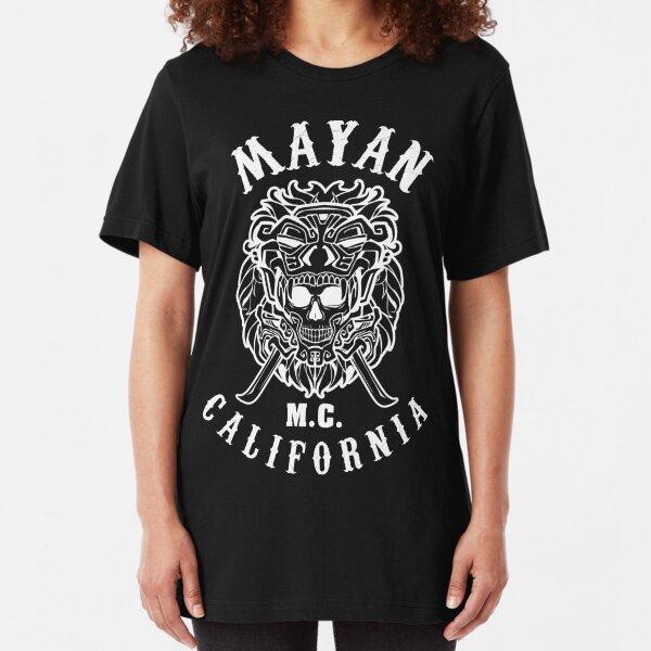 Mayan Motorcycle Club T-shirt Vintage Skull with California Slim Fit T-Shirt