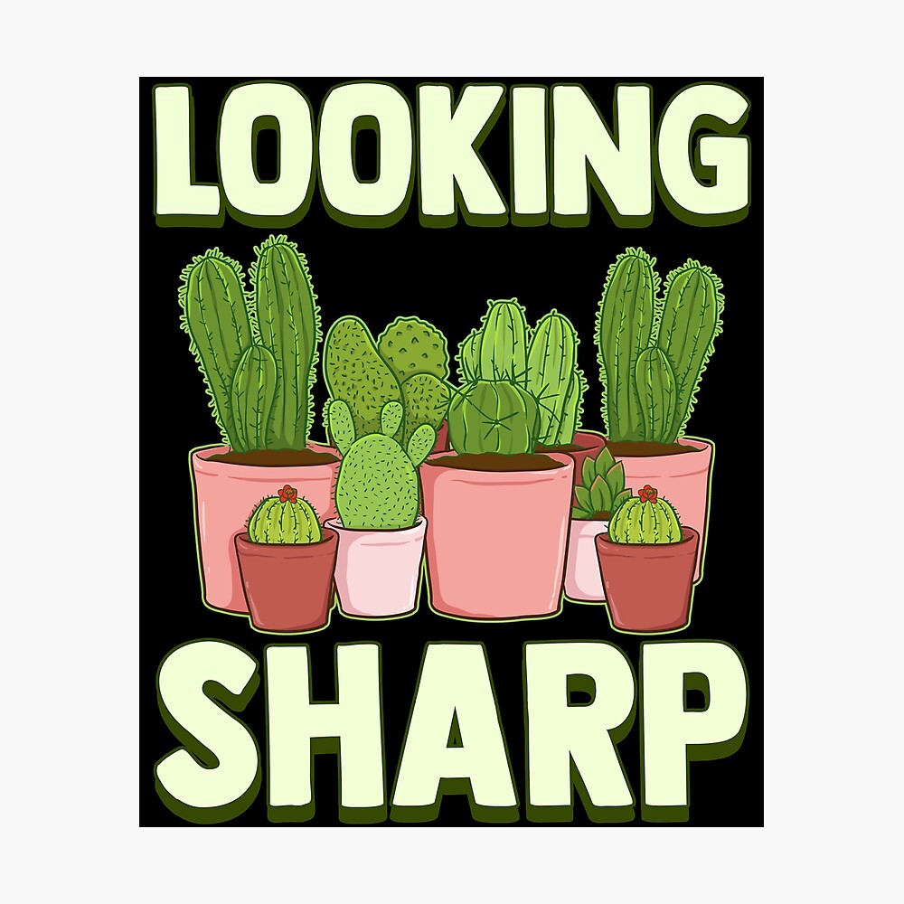 Funny Looking Sharp Cactus Plants Pun Gardeners Poster By