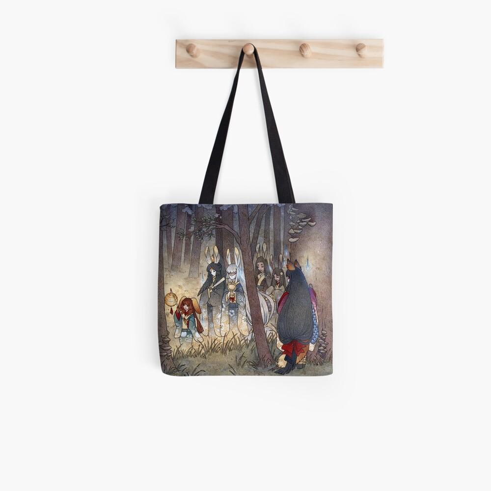 Procession - Kitsune Fox Rabbit Yokai Tote Bag