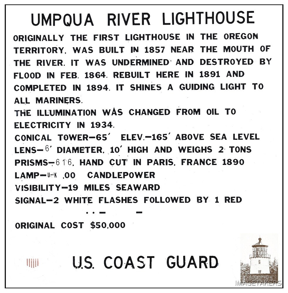 Umpqua River Lighthouse - Sign With Lighthouse Sketch by IMAGETAKERS