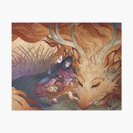 Slumber - Kitsune Fox Dragon Art Board Print