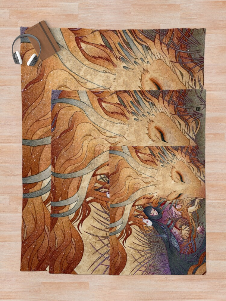 Alternate view of Slumber - Kitsune Fox Dragon Throw Blanket