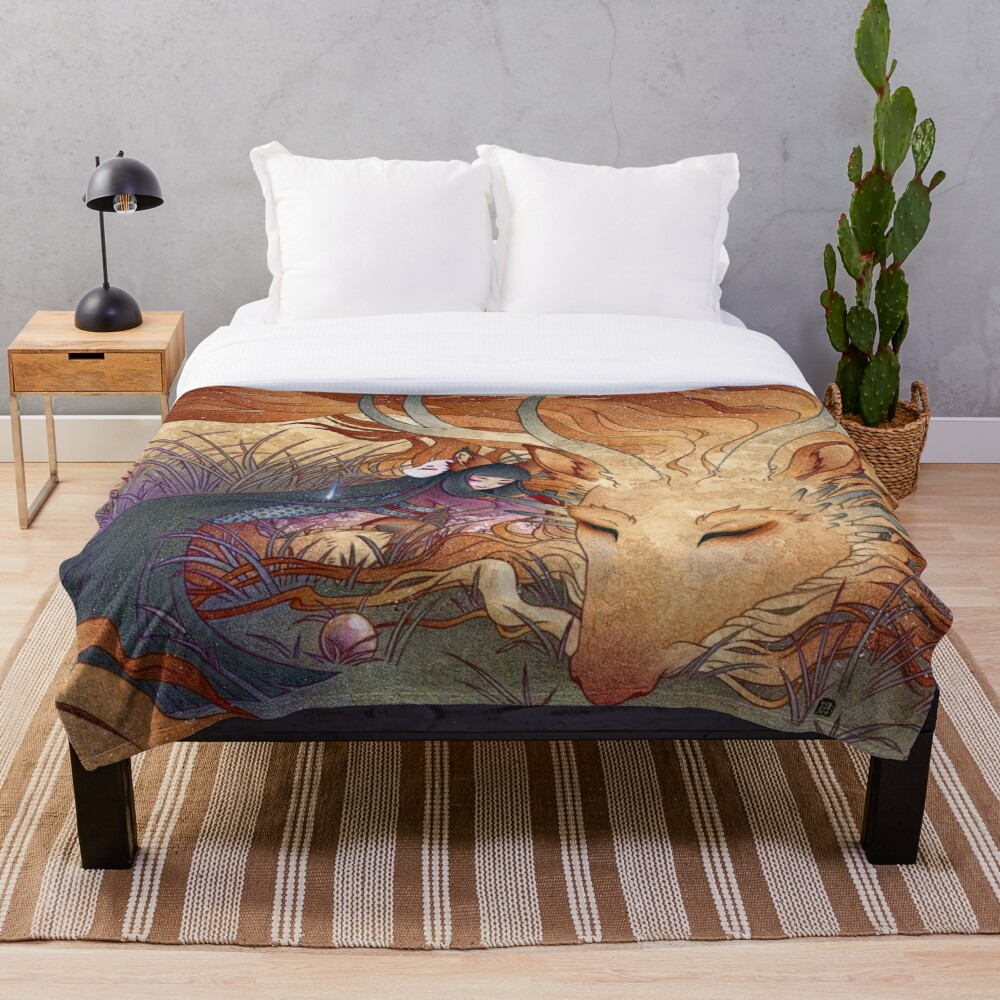 Slumber - Kitsune Fox Dragon Throw Blanket