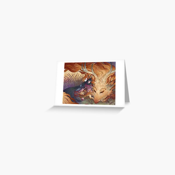 Slumber - Kitsune Fox Dragon Greeting Card
