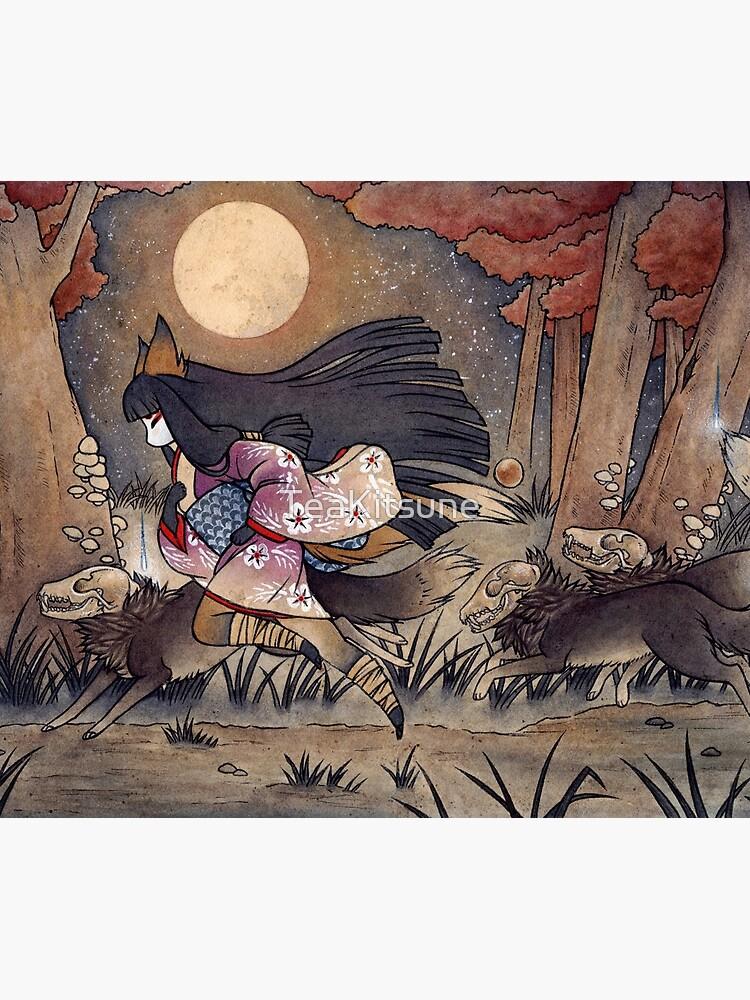 Running With Monsters - Kitsune Fox Yokai  by TeaKitsune