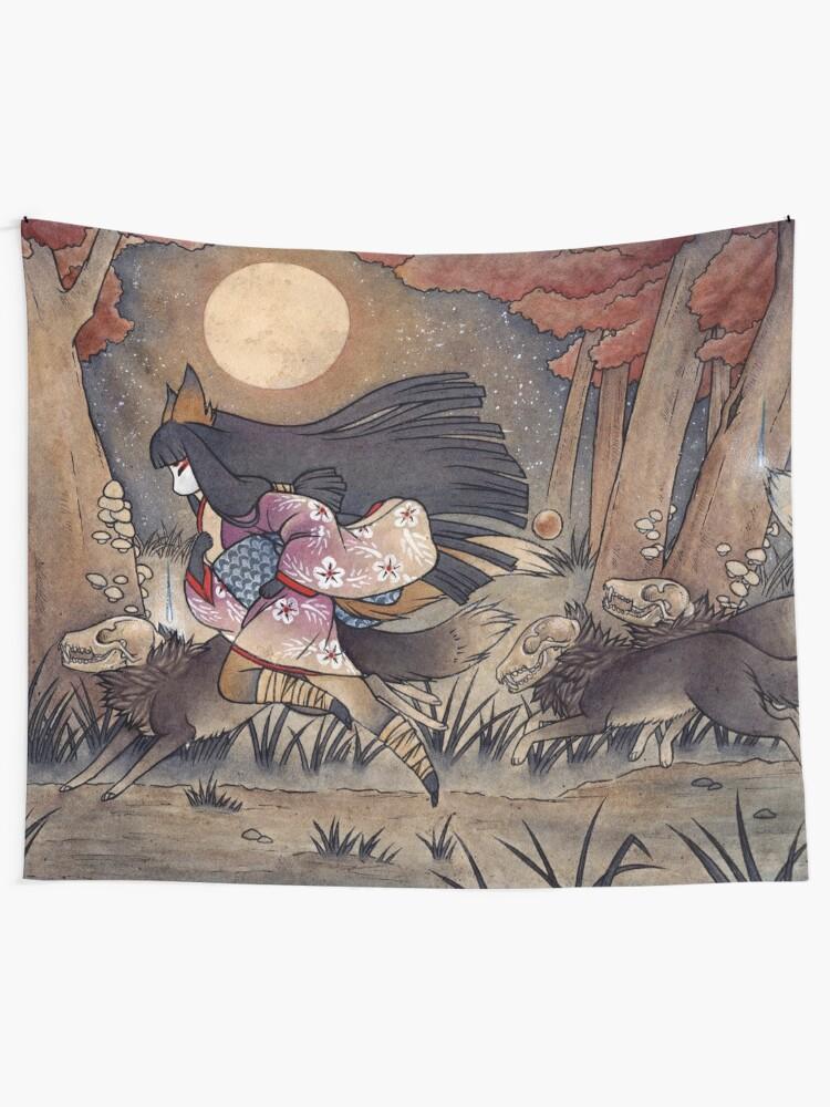 Alternate view of Running With Monsters - Kitsune Fox Yokai  Tapestry