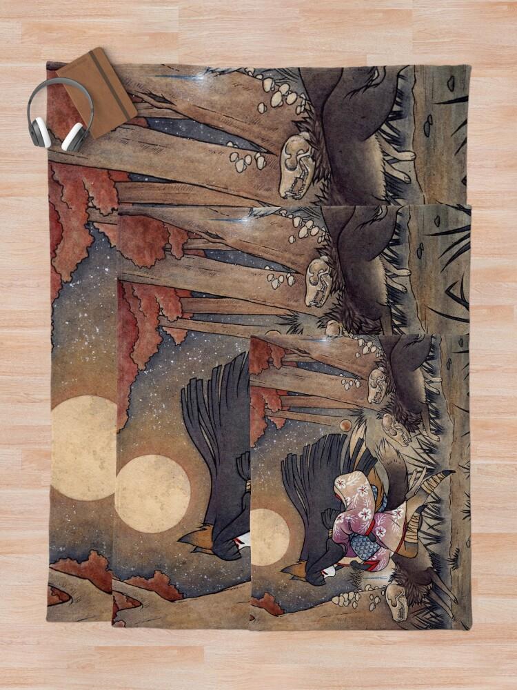 Alternate view of Running With Monsters - TeaKitsune Fox Yokai  Throw Blanket