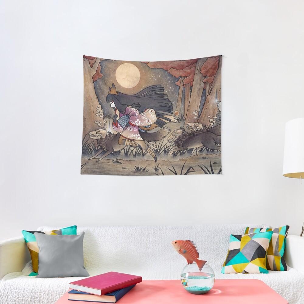 Running With Monsters - Kitsune Fox Yokai  Tapestry