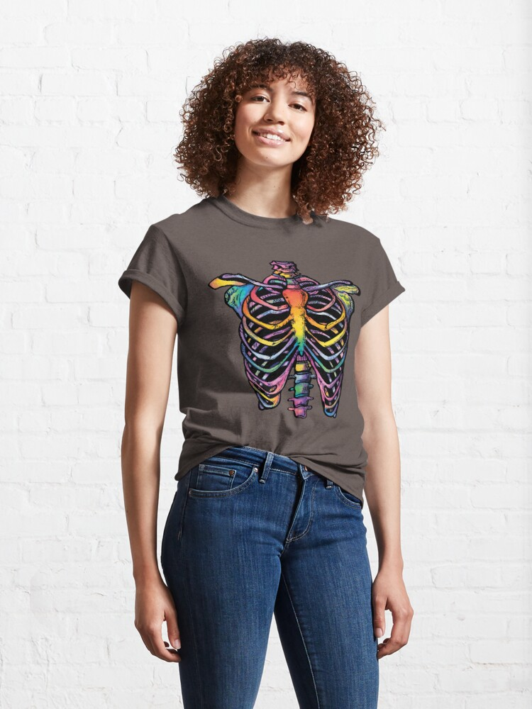 Alternate view of Rainbow Ribcage Skeleton Classic T-Shirt