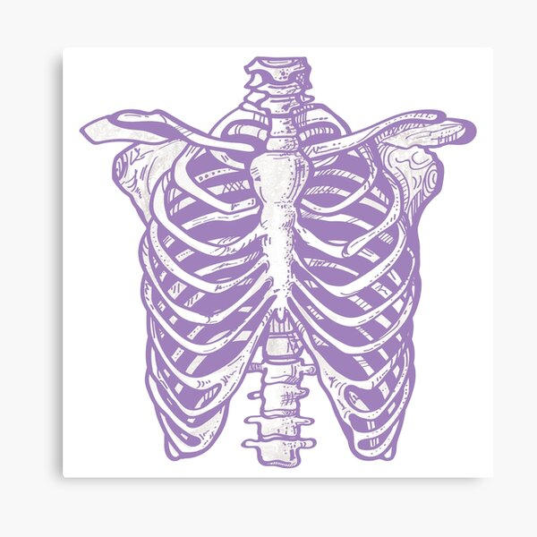Purple Ribcage Skeleton Canvas Print