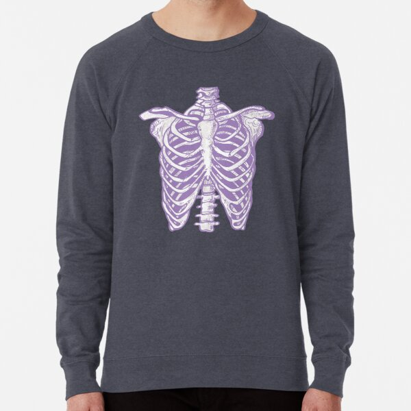 Purple Ribcage Skeleton Lightweight Sweatshirt