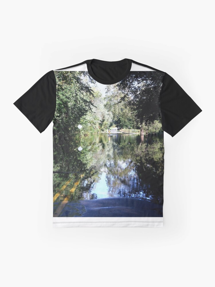 Alternate view of The Bicyclist and the Mirrored Pond Graphic T-Shirt