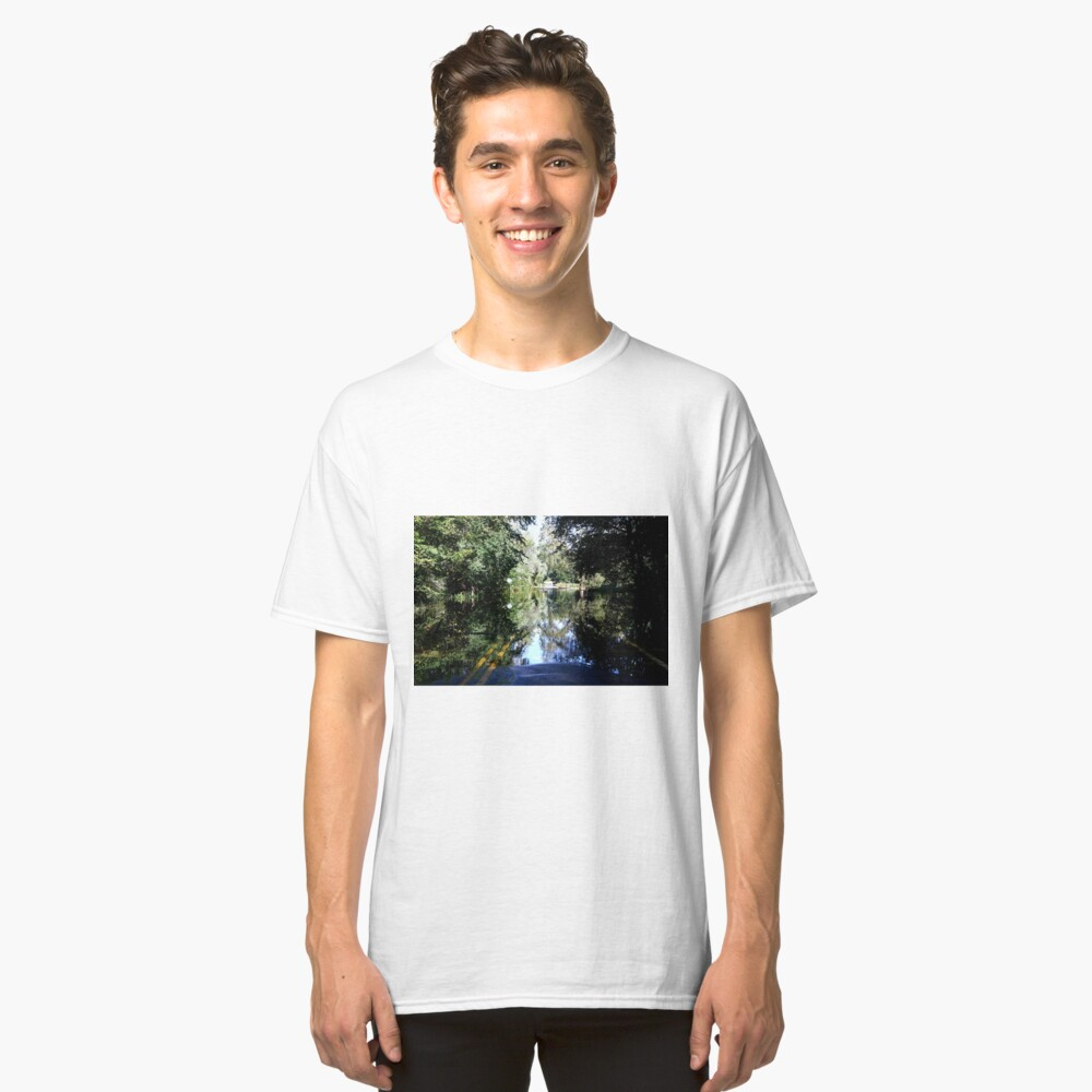The Bicyclist and the Mirrored Pond Classic T-Shirt