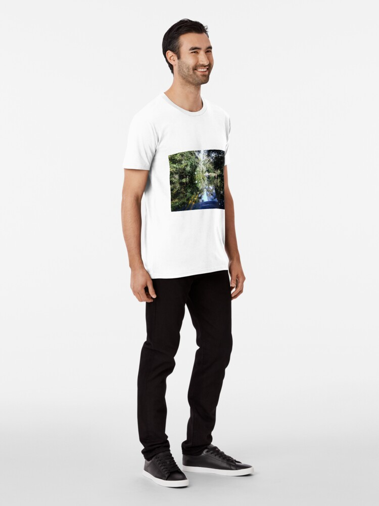 Alternate view of The Bicyclist and the Mirrored Pond Premium T-Shirt
