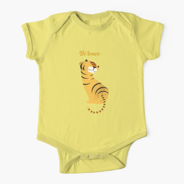 Illustration of children's room with tiger and typography - Be brave tiger Short Sleeve Baby One-Piece