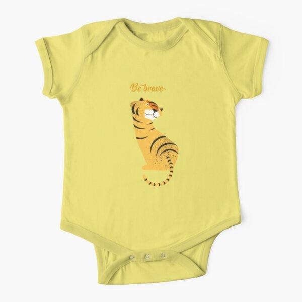 Illustration Kinderzimmer mit Tiger und Typografie – Be brave tiger Baby Body Kurzarm