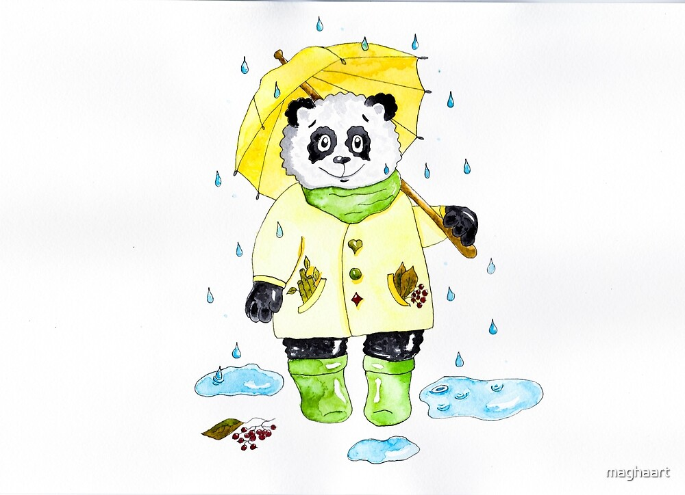 Panda under rain with umbrella by maghaart