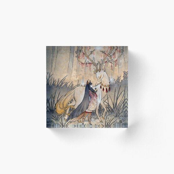 The Wish - Kitsune Fox Deer Yokai Acrylic Block