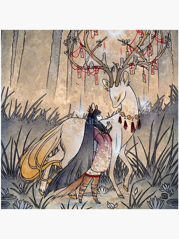 The Wish - Kitsune Fox Deer Yokai by TeaKitsune