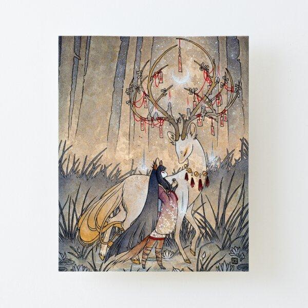 The Wish - Kitsune Fox Deer Yokai Canvas Mounted Print