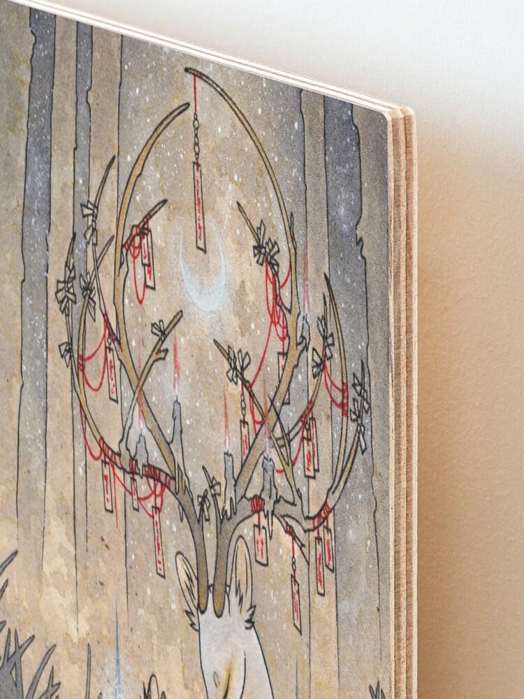 Alternate view of The Wish - Kitsune Fox Deer Yokai Mounted Print