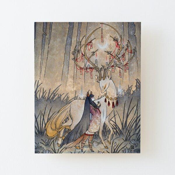 El deseo - Kitsune Fox Deer Yokai Lámina montada de madera