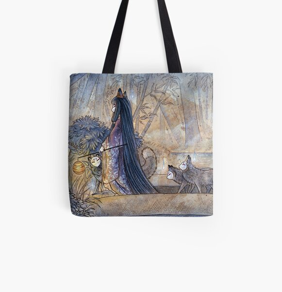 Silent Crossing - Kitsune Fox Yokai All Over Print Tote Bag
