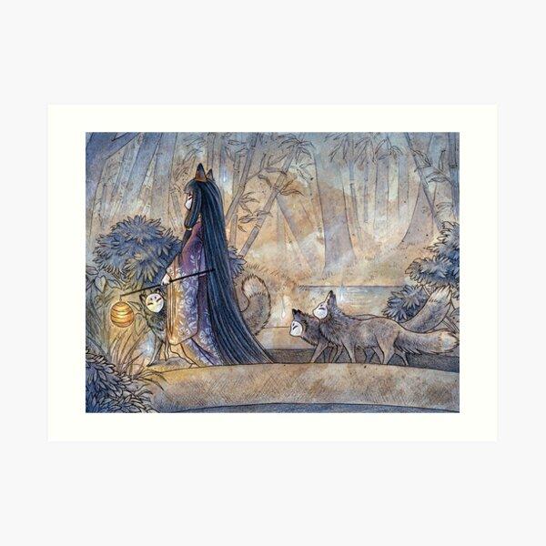 Silent Crossing - TeaKitsune Fox Yokai Art Print