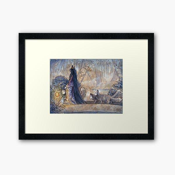 Silent Crossing - TeaKitsune Fox Yokai Framed Art Print