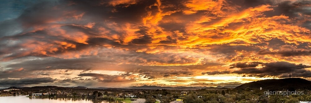 Canberra Sunset Panorama by glennsphotos