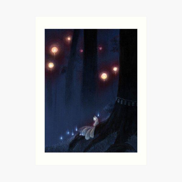 Forest Ghost - Kitsune Fox Yokai  Art Print